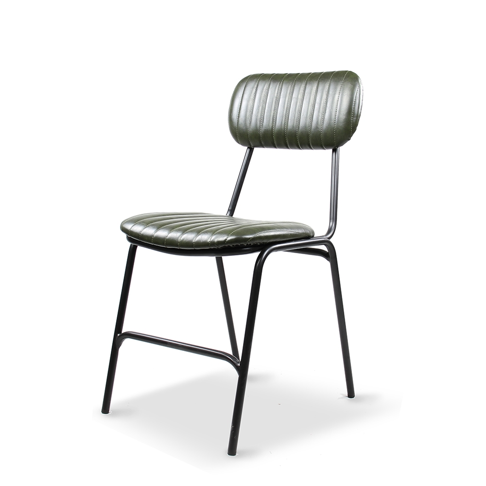 Dackar Vintage Green  Dimension W420 D520 H870 SH470mm  Style Industrial  Design Brushed metal frame, solid ply seat, high density foam. PU upholstery features single stitch detailing and piping.